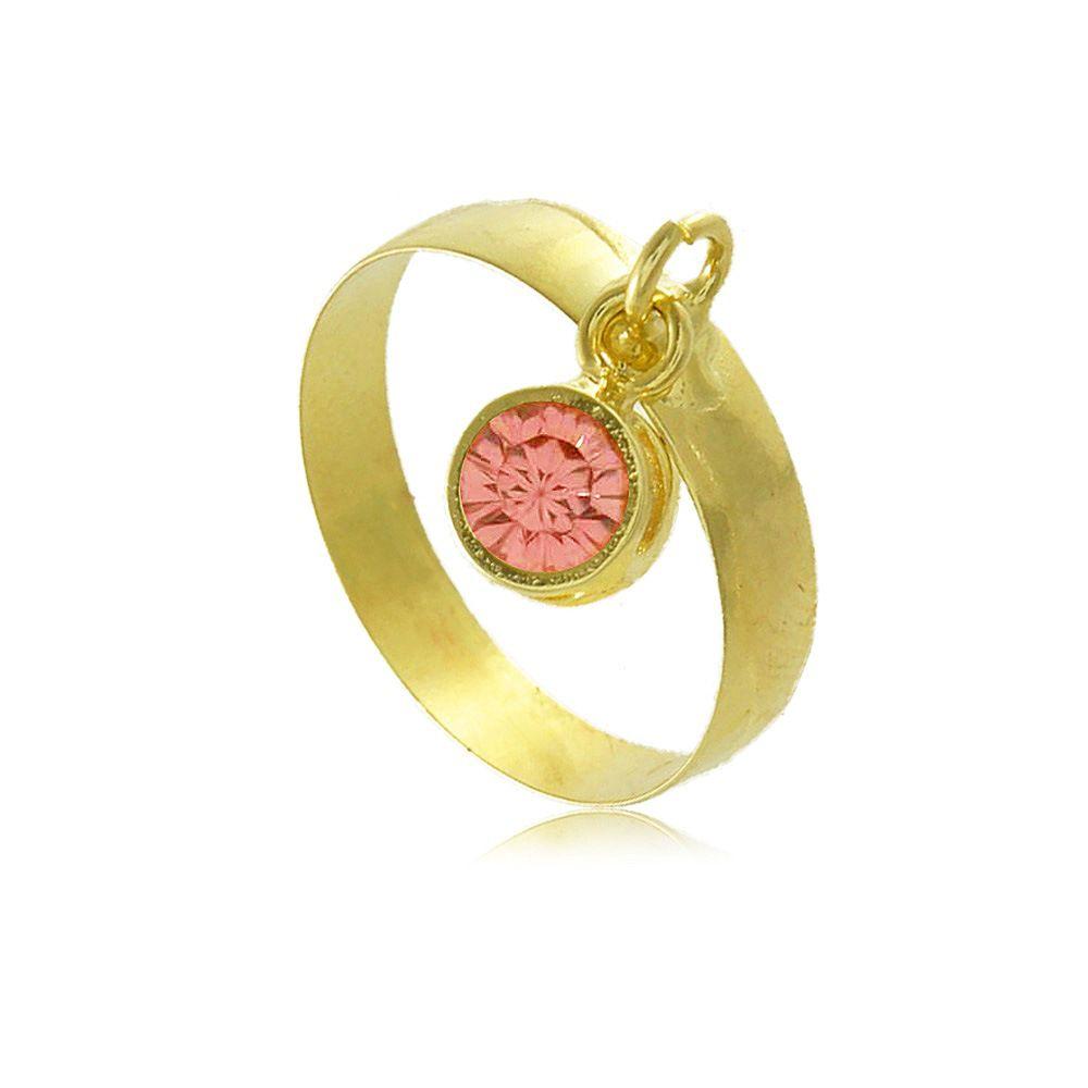 Anel com Pingente Rosa em Zircônia Folheado a Ouro 18K