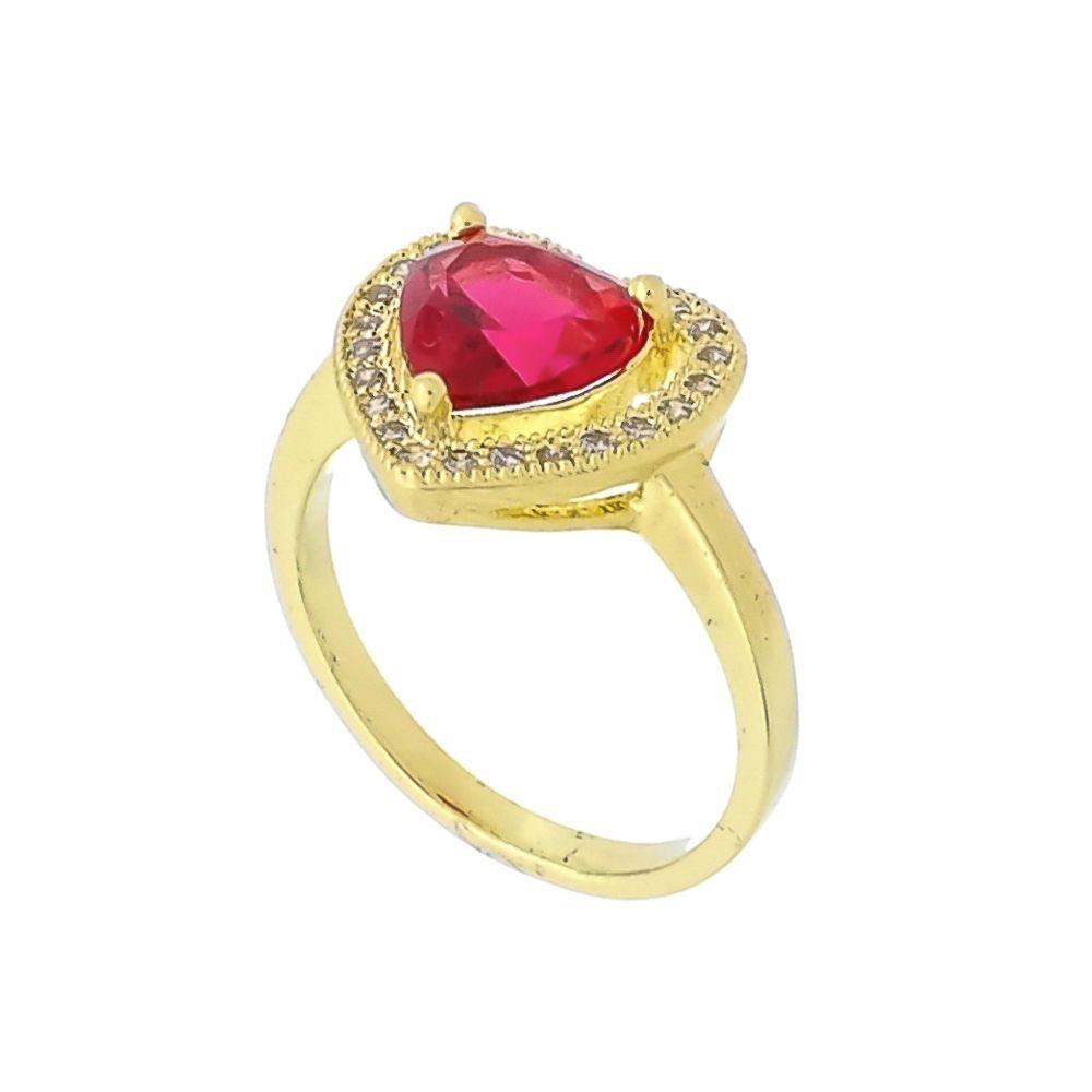 Anel Coração com Cristal Rosa e Mini Zircônias Cravejadas Folheado a Ouro 18K