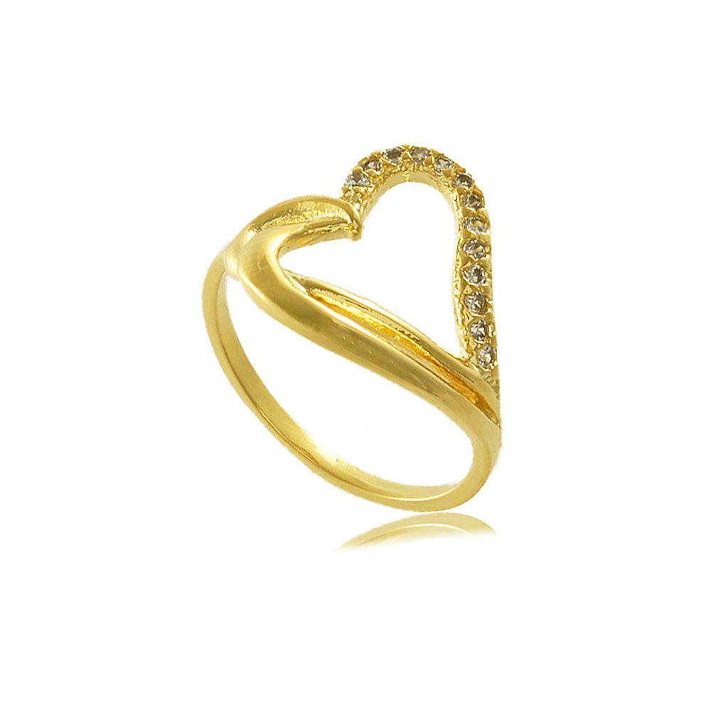 Anel Coração com Zircônias Cravejadas Folheado a Ouro 18K