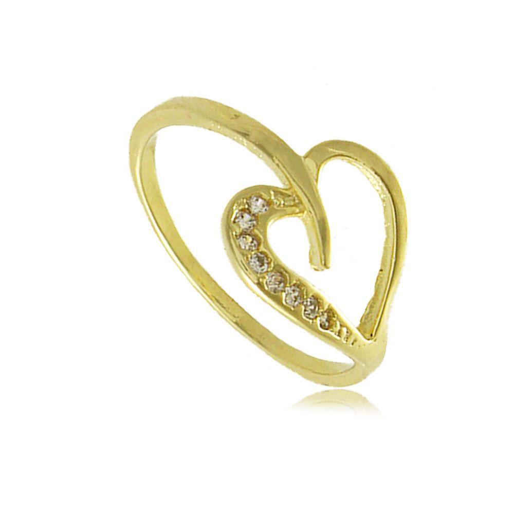 Anel Coração com Zircônias Folheado a Ouro 18k