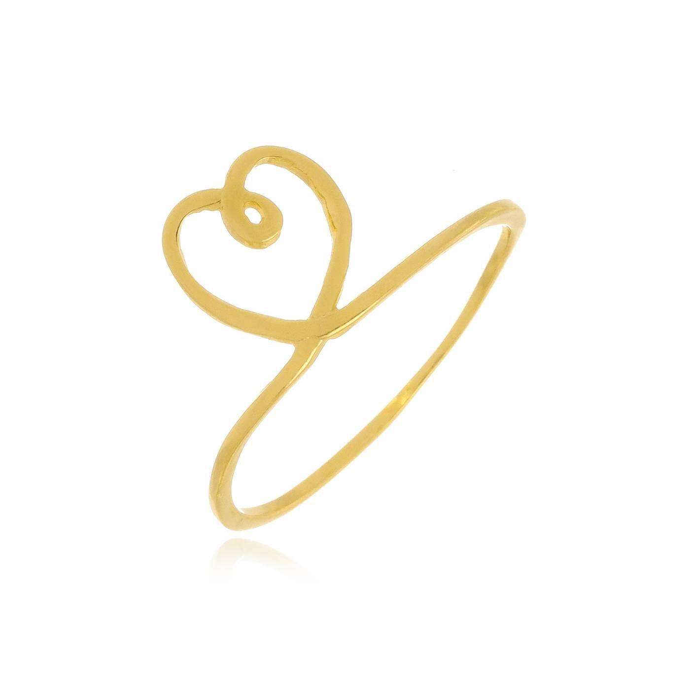 Anel Coração Fino Vazado Folheado a Ouro 18K