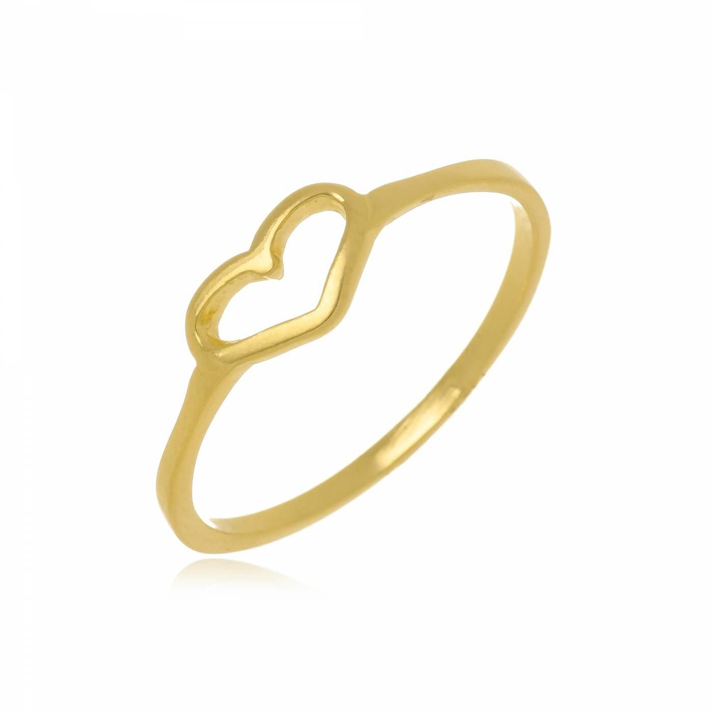 Anel Coração Vazado Folheado a Ouro 18K