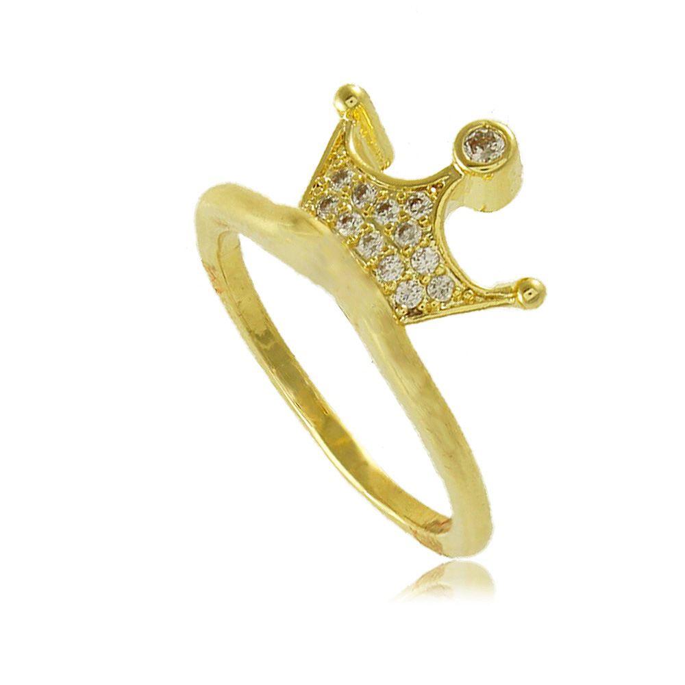 Anel Coroa com Zircônias Cravejadas Folheado a Ouro 18K