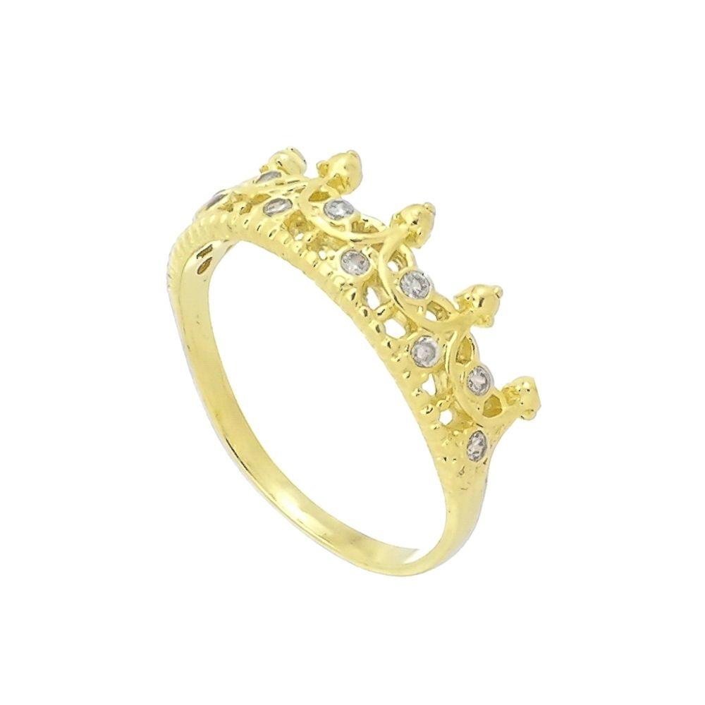 Anel Coroa com Zircônias Folheado a Ouro 18K