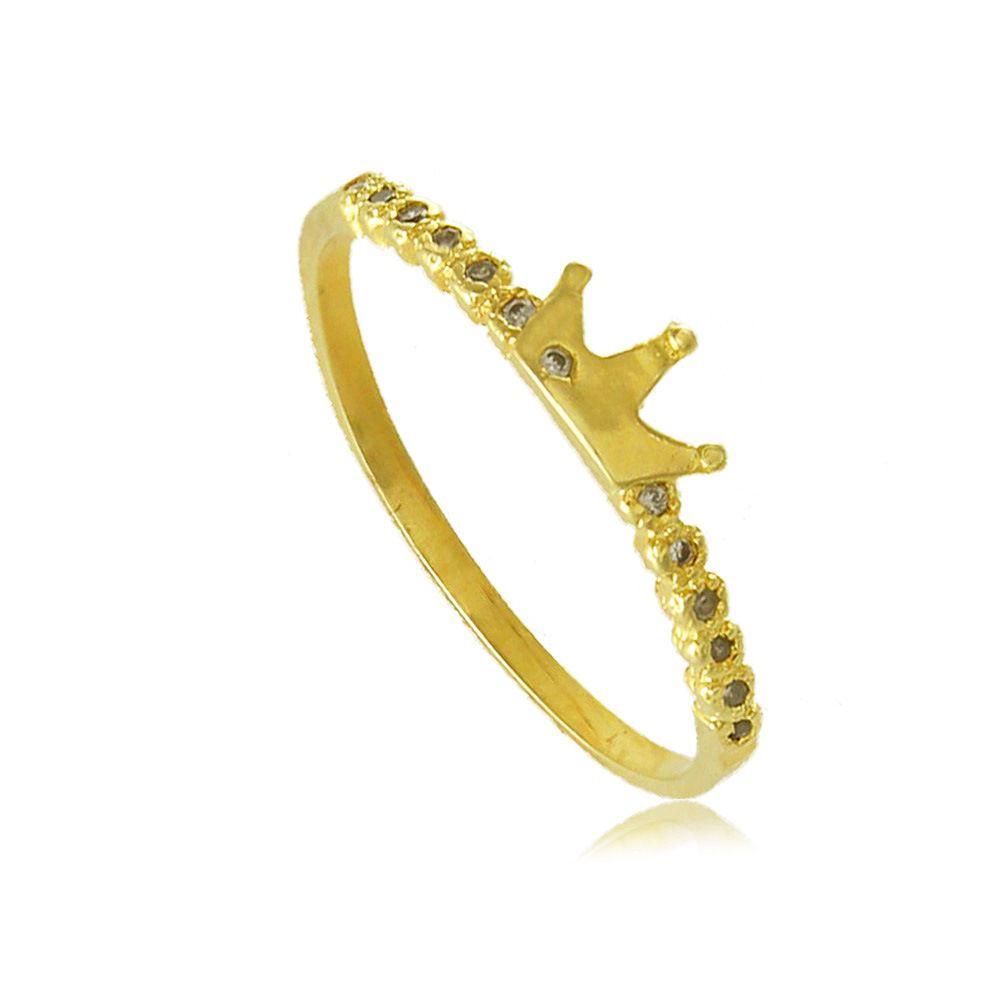 Anel Coroa Pequena com Zircônias Folheado a Ouro 18K