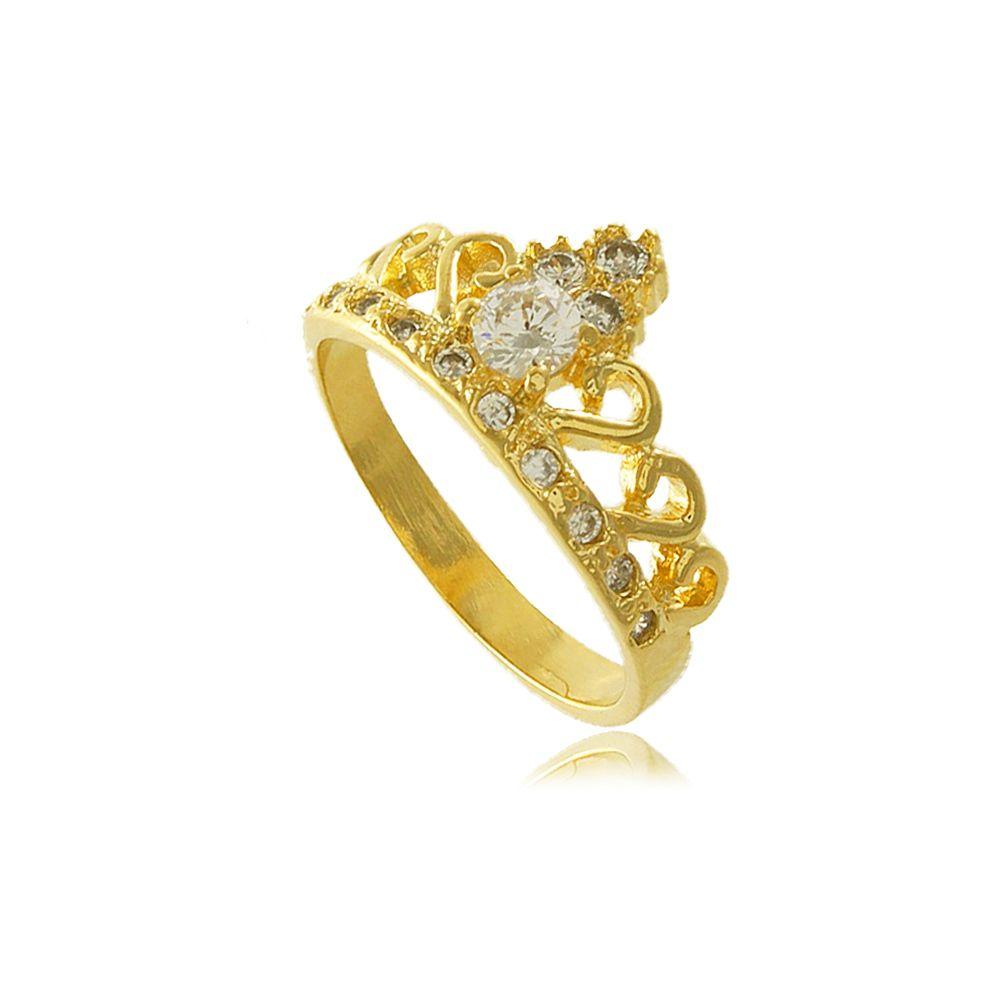 Anel Coroa Provençal com Zircônia Folheado a Ouro 18K