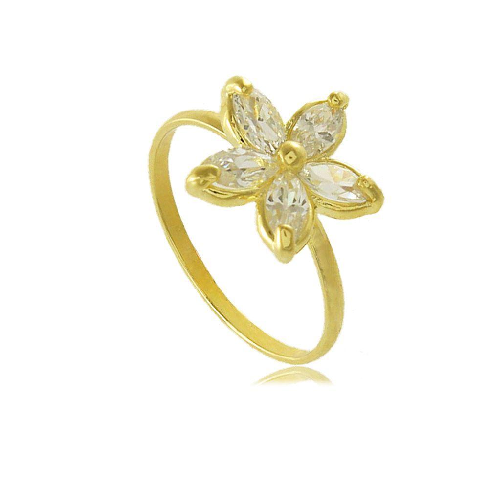 Anel de Falange Flor com Zircônias Folheado a Ouro 18K