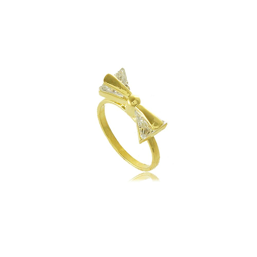 Anel de Falange Laço em Zircônia Folheado a Ouro 18K