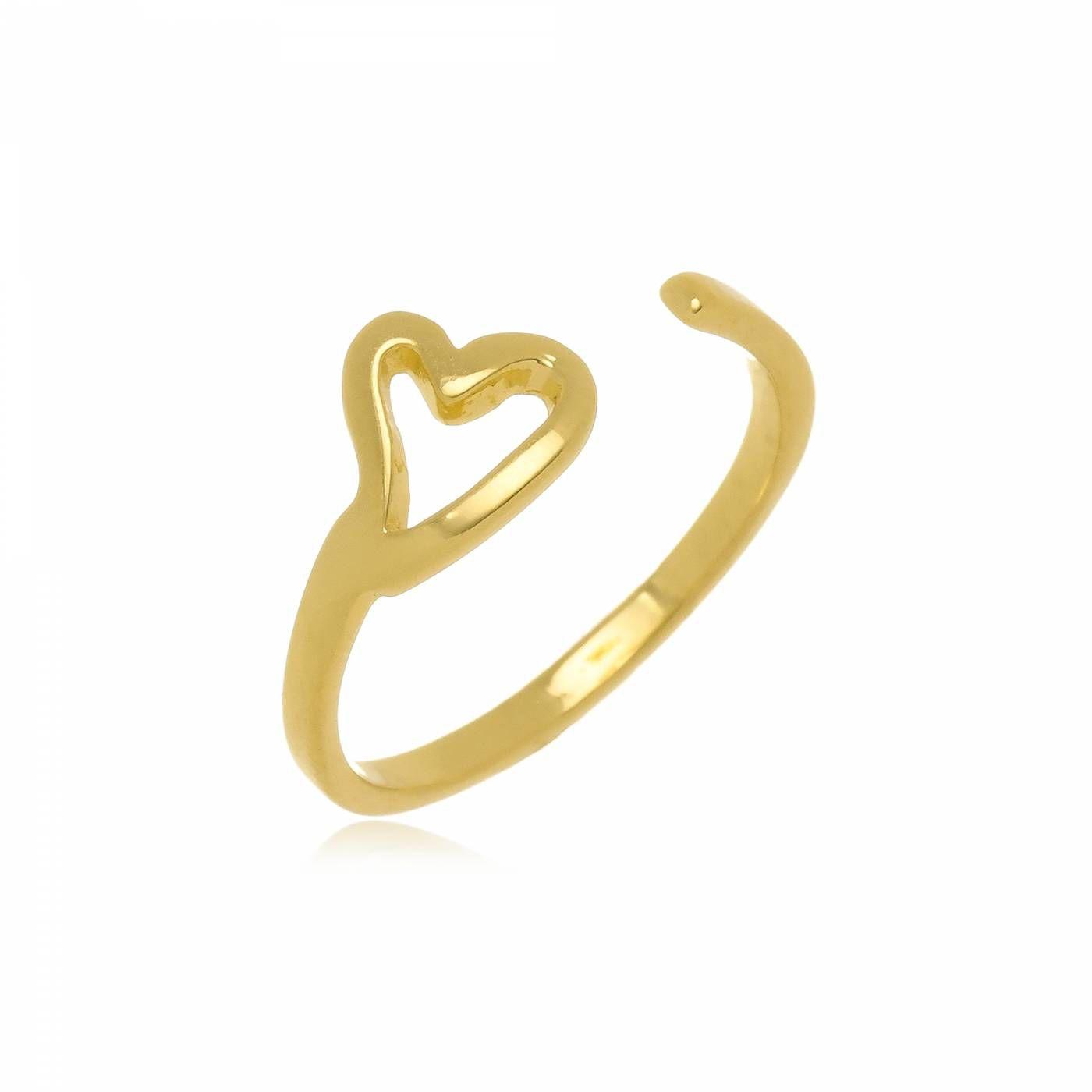 Anel de Falange Regulável Coração Folheado a Ouro 18K