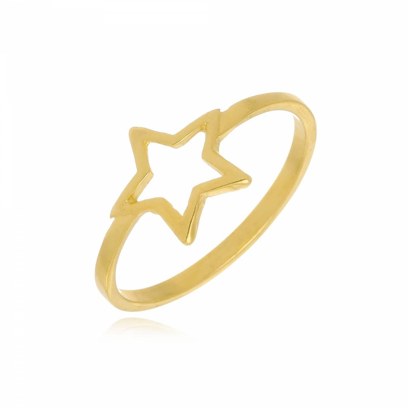 Anel Estrela Folheado a Ouro 18K