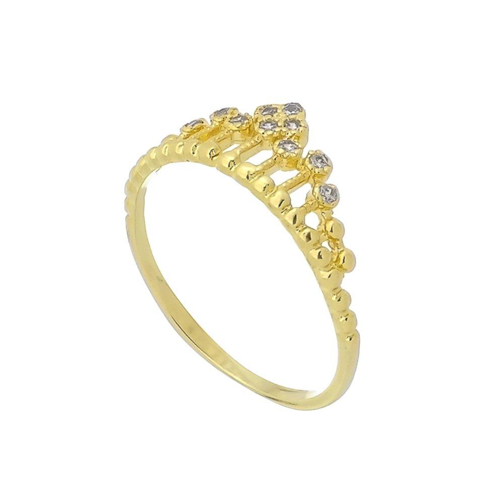 Anel Fino com Coroa e Detalhes em Zircônias Folheado a Ouro 18K
