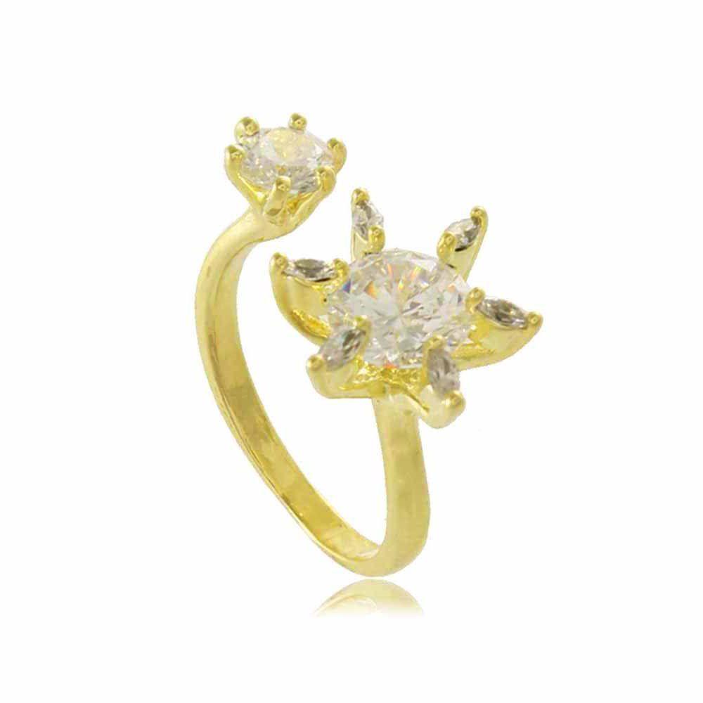 Anel Flor e Ponto de Luz em Zircônia Folheado a Ouro 18K