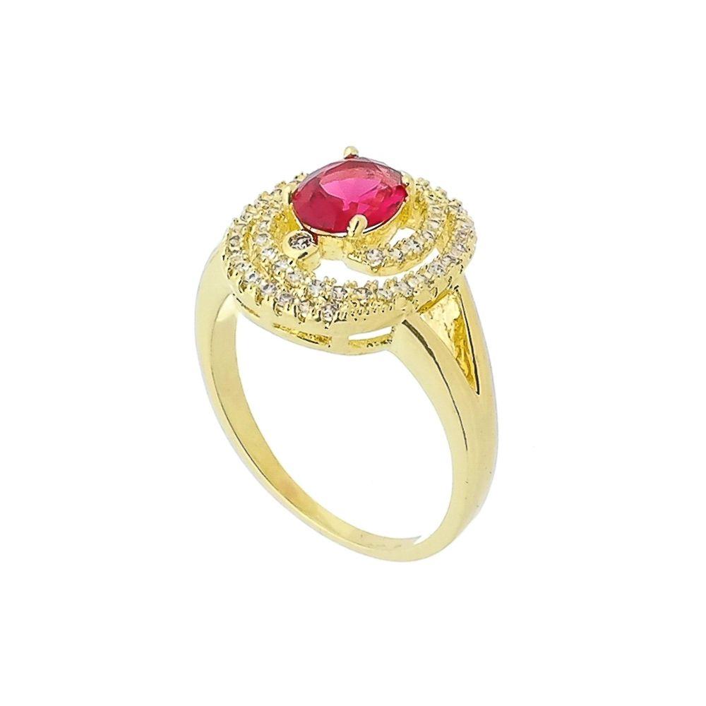 Anel Oval com Cristal Rosa e Zircônias Folheado a Ouro 18K