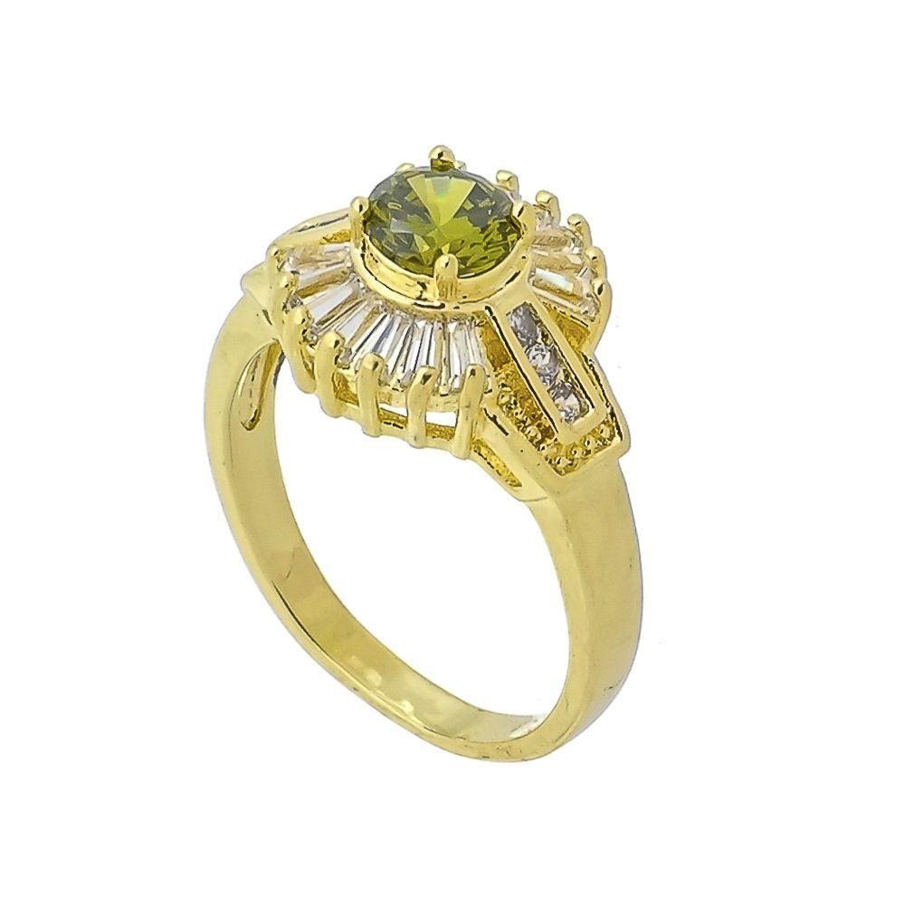 Anel Ponto de Luz Verde e Detalhes em Zircônias Brancas Folheado a Ouro 18K