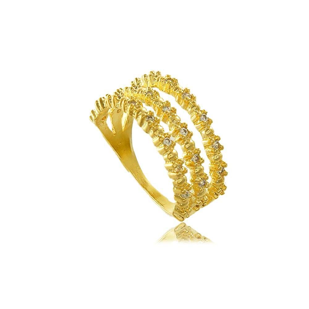 Anel Triplo com Mini Zircônias Cravejadas Folheado a Ouro 18K