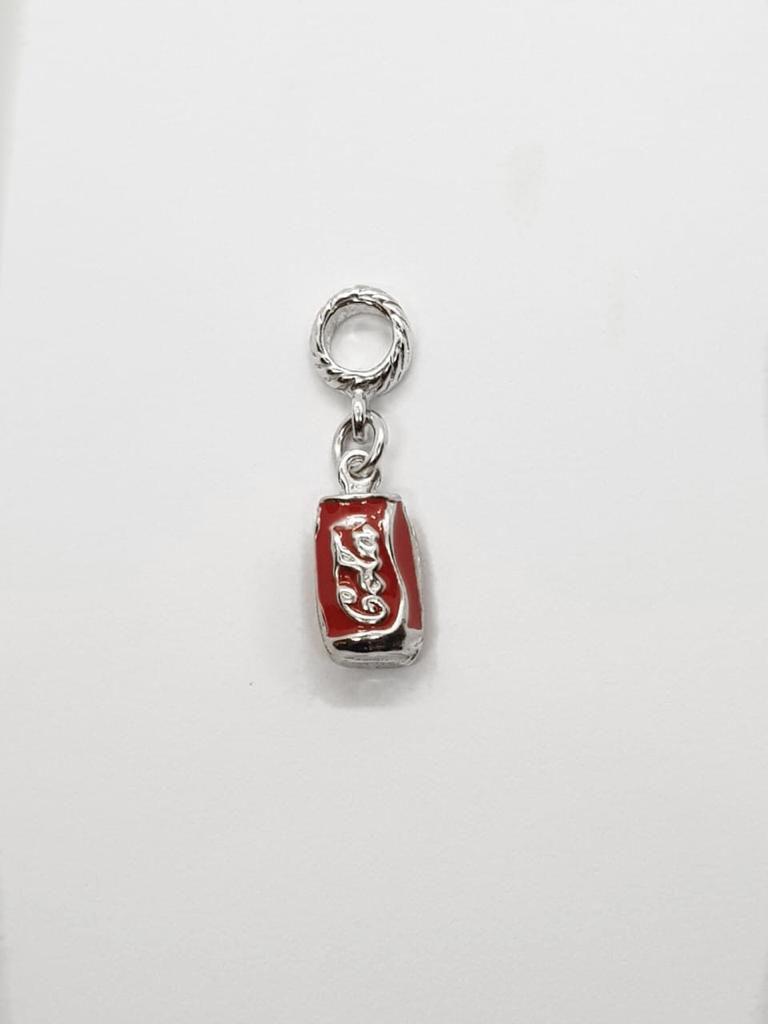 Berloque Coca-Cola Folheado em Ródio Branco