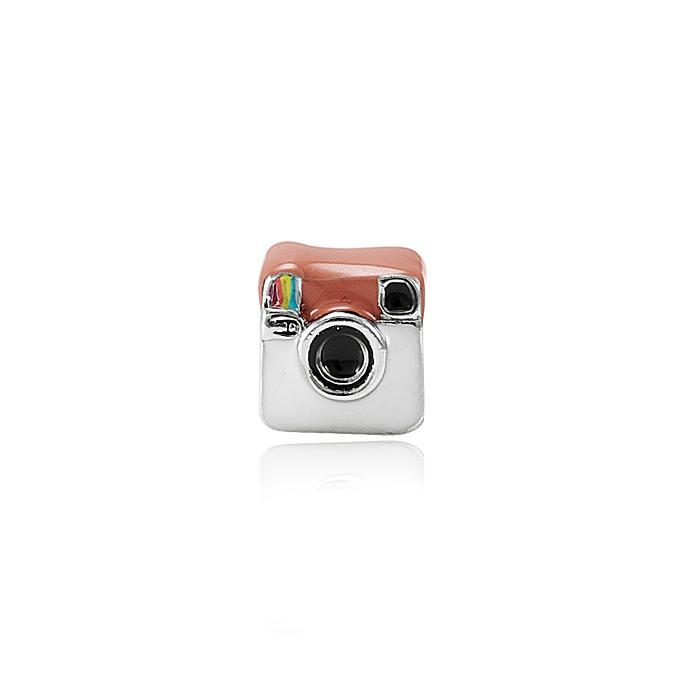 Berloque Instagram Folheado em Ródio Branco