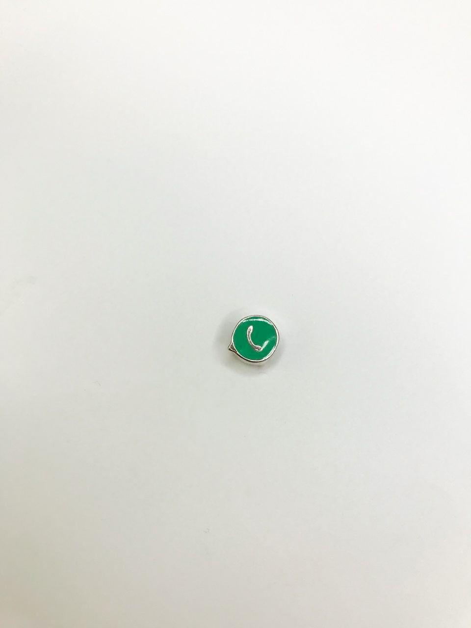 Berloque WhatsApp Folheado em Ródio Branco