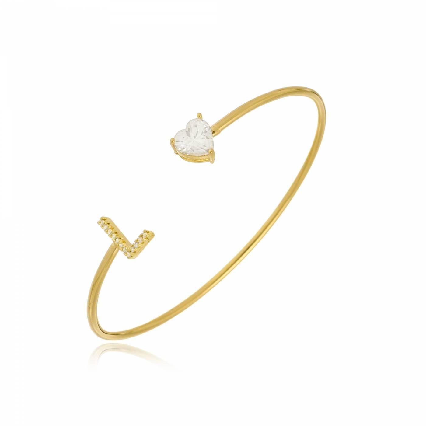 Bracelete com Inicial e Coração Branco Folheado a Ouro 18K