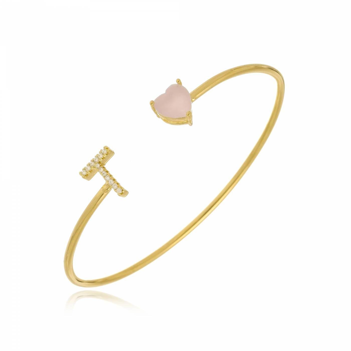 Bracelete com Inicial e Coração Rose Folheado a Ouro 18K
