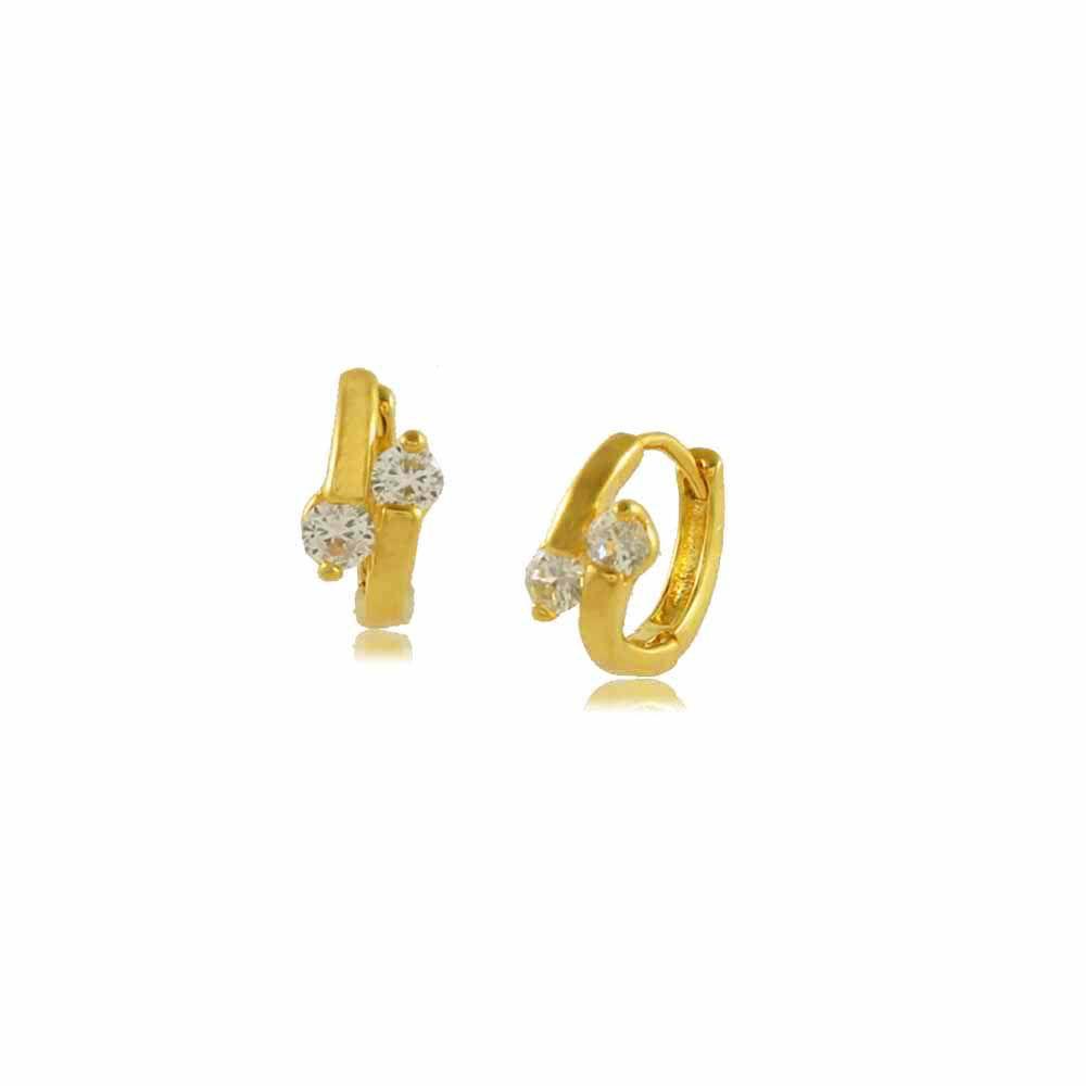 Brinco Argola com Duas Zircônias Folheada a Ouro 18K