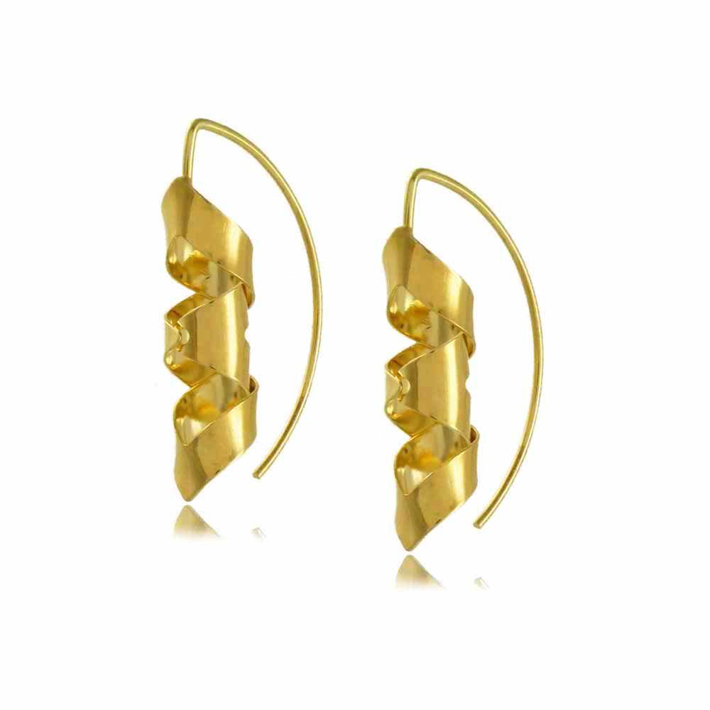 Brinco Argola Gancho Espiral Folheado a Ouro 18K