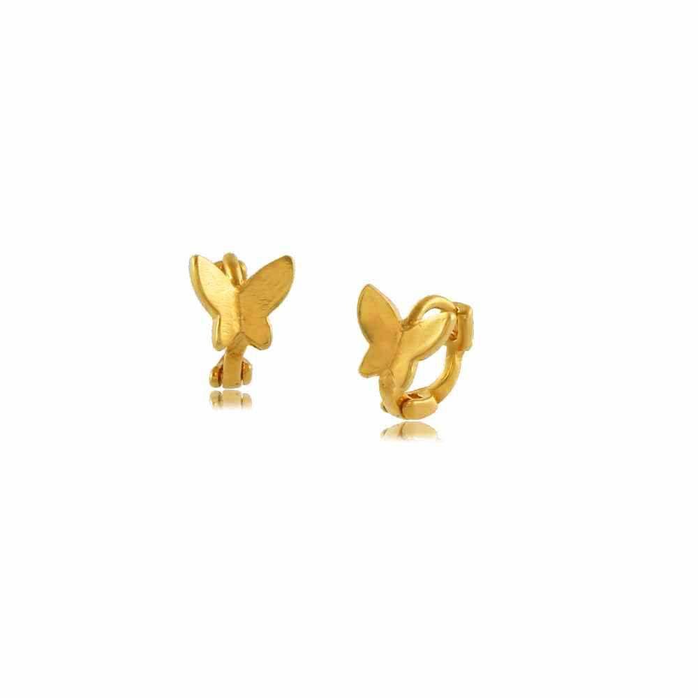Brinco Argola Mini Borboleta Folheada a Ouro 18K