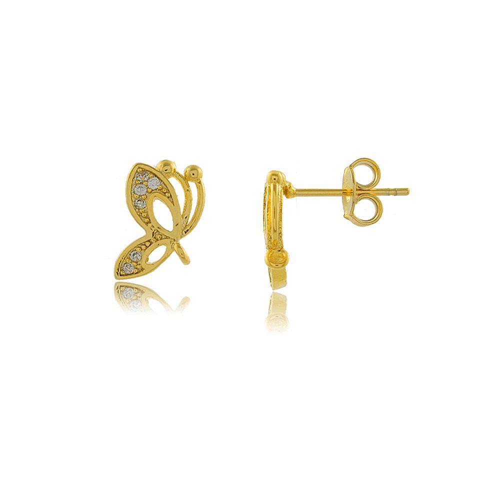 Brinco Borboleta com Mini Zircônias Folheado a Ouro 18K
