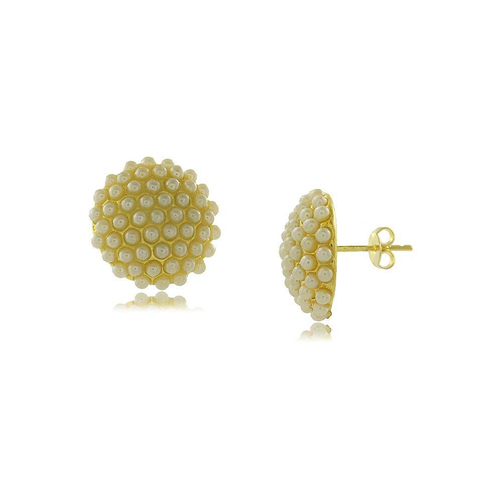 Brinco Circular com Mini Pérolas Folheado a Ouro 18K