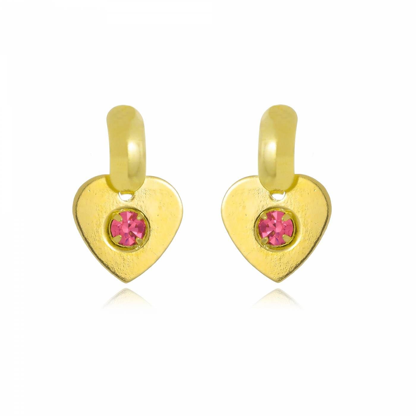 Brinco Coração com Cristal Rosa Folheado a Ouro 18K