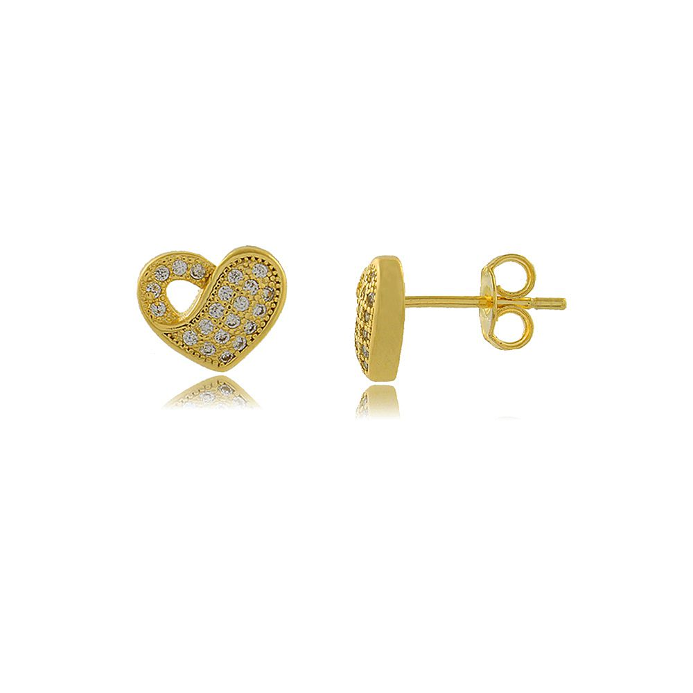 Brinco Coração Entrelaçado com Mini Zircônias Cravejadas Folheado a Ouro 18K