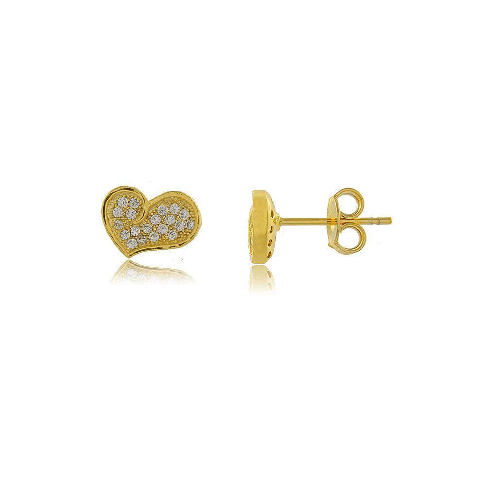 Brinco Coração Estilizado com Mini Zircônias Folheado a Ouro 18K
