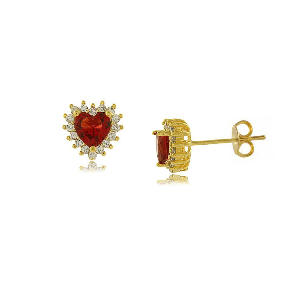Brinco Coração Rendado com Mini Zircônias Folheado a Ouro 18K