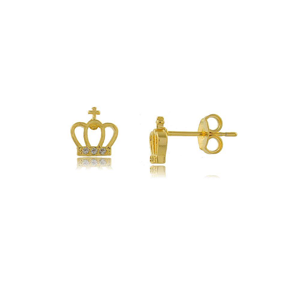 Brinco Coroa com Cruz e Zircônias Folheado a Ouro 18K