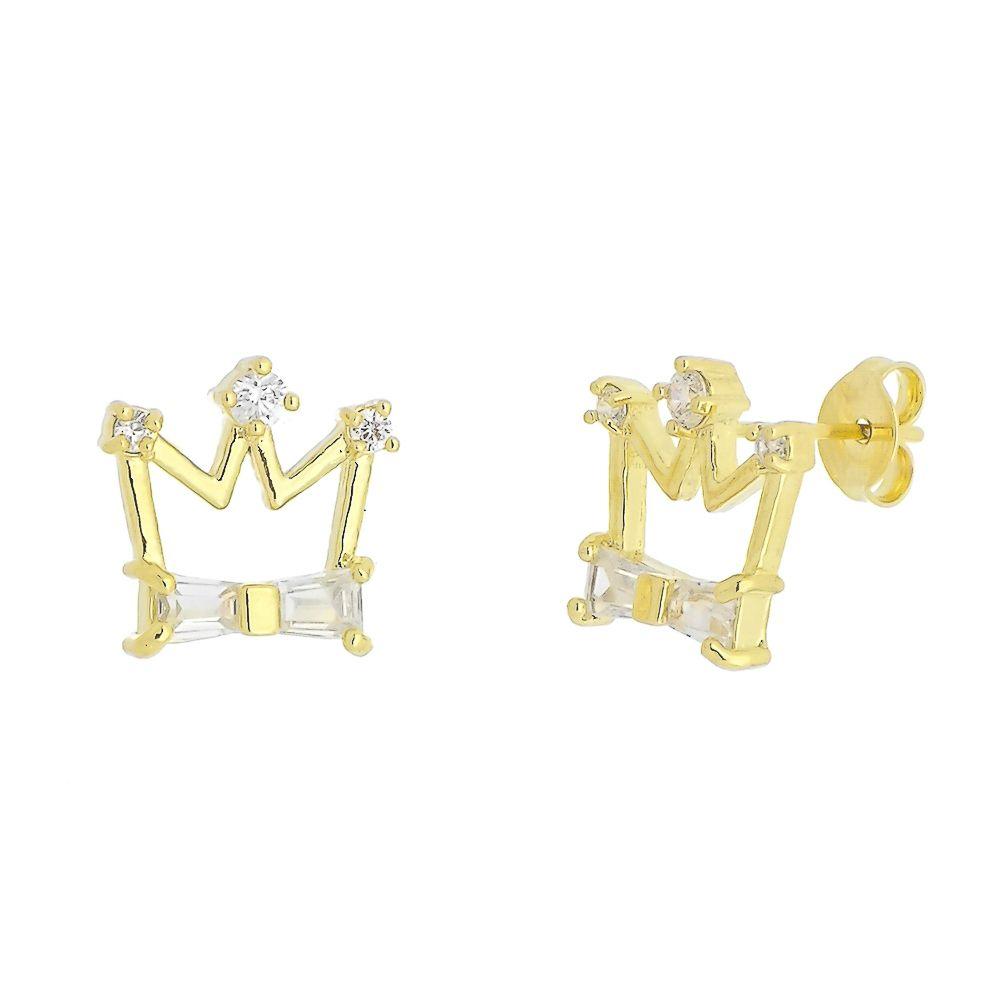Brinco Coroa com detalhe de Laço em Zircônias Folheado a Ouro 18K