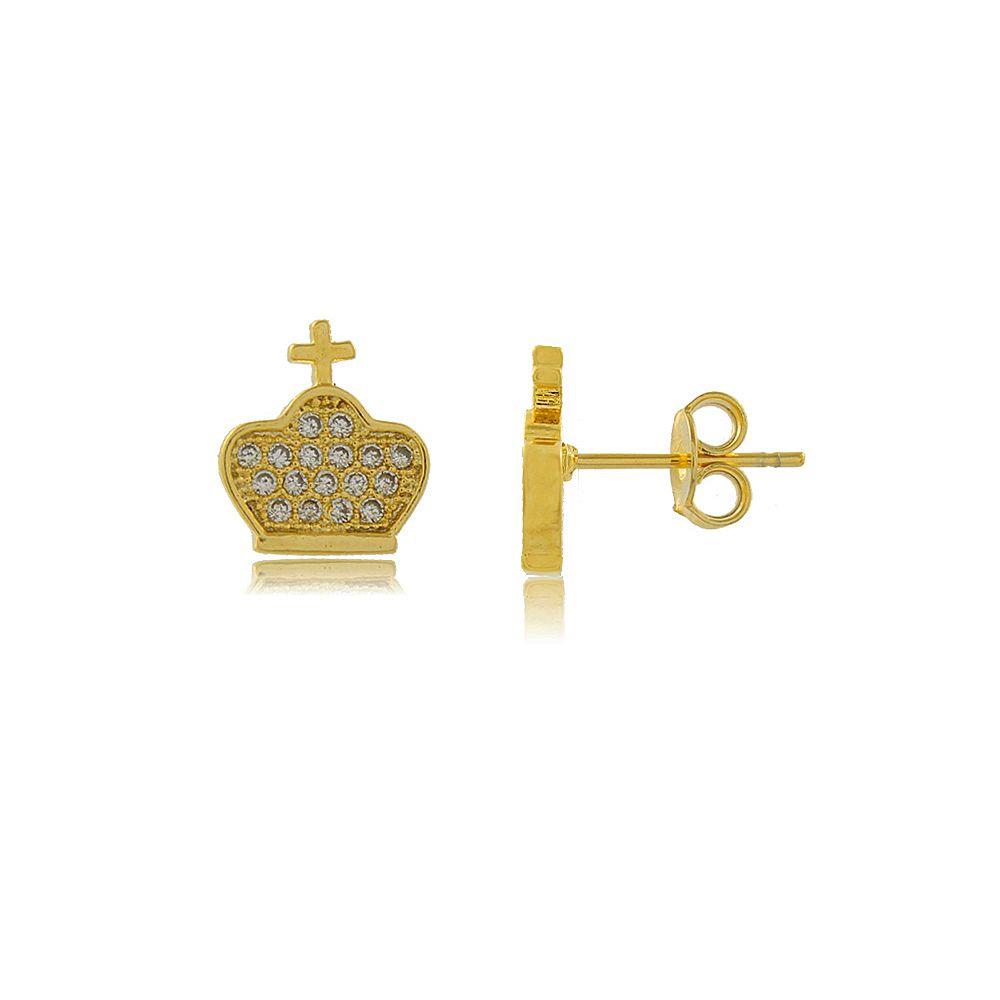 Brinco Coroa Estilizada com Crucifico e Zircônias Folheado a Ouro 18K