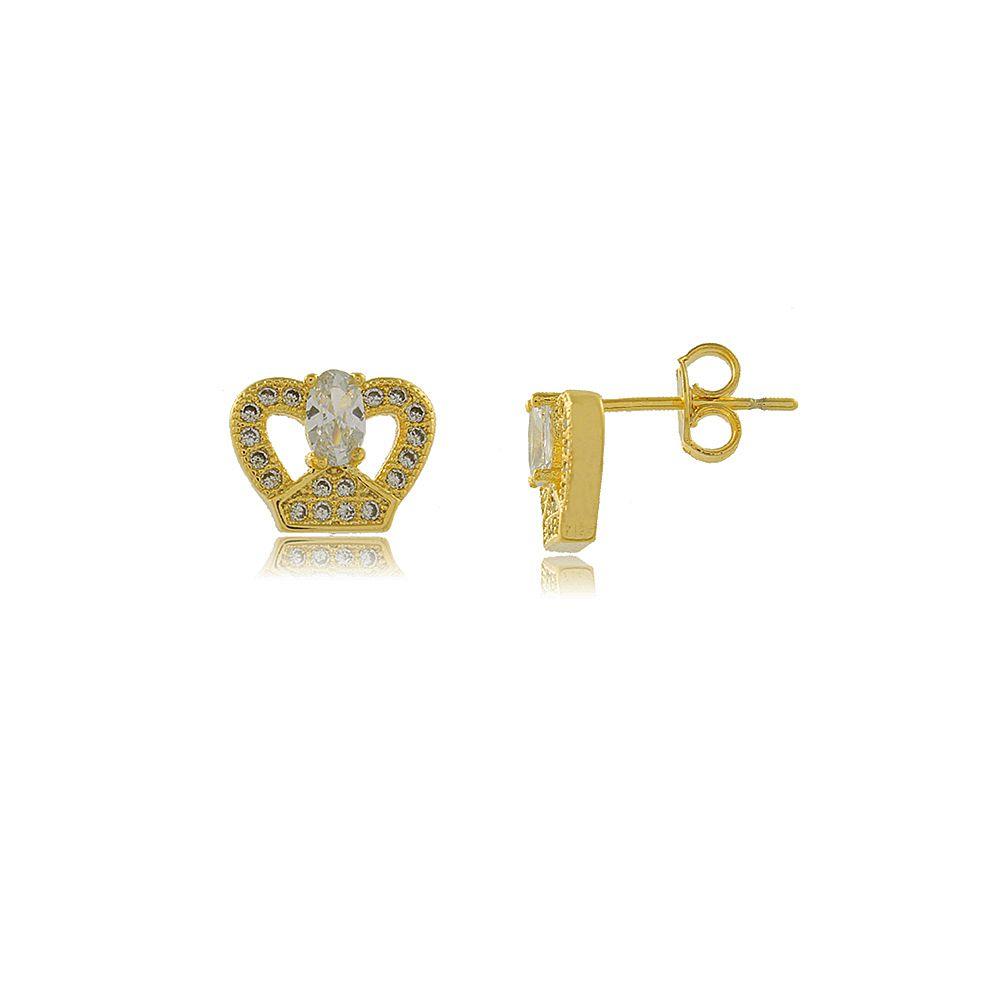 Brinco Coroa Estilizada com Mini Zircônias Folheado a Ouro 18K