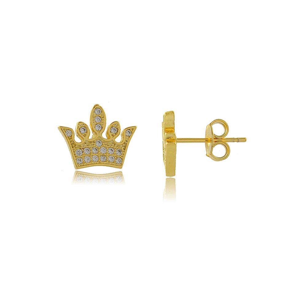 Brinco Coroa Estilizado com Mini Zircônias Folheado a Ouro 18K
