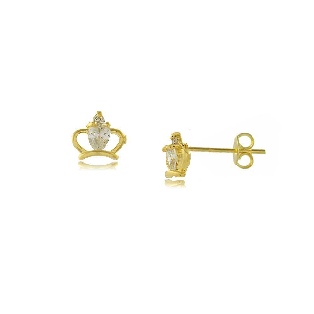 Brinco Coroa Vazada com Detalhe em Zircônia Folheado a Ouro 18K