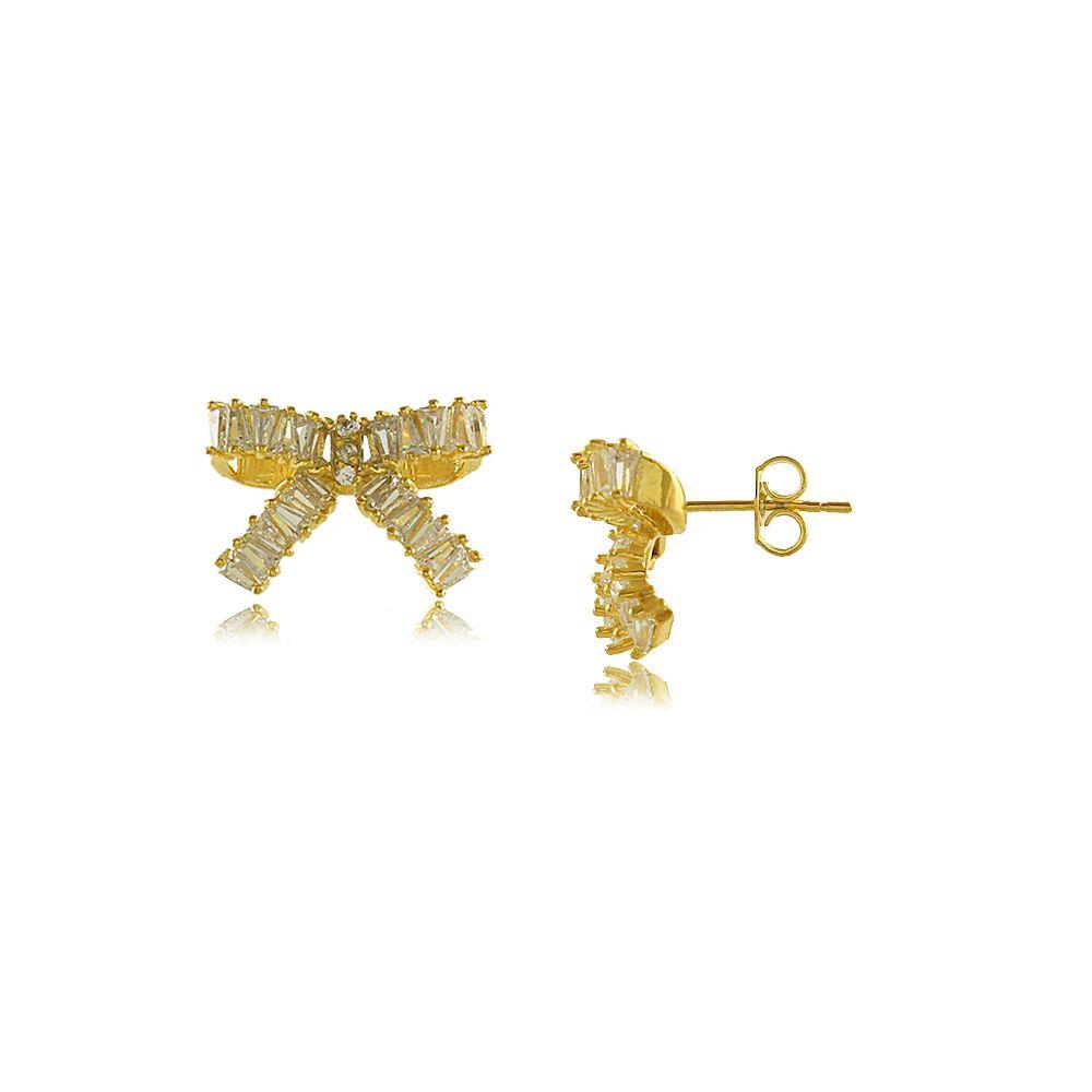 Brinco de Laço com Zircônias Cravejadas Folheado a Ouro 18K