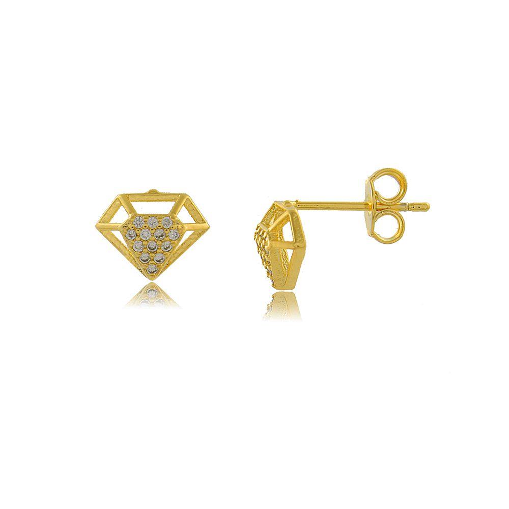Brinco Diamante com Mini Zircônias Cravejadas Folheado a Ouro 18K