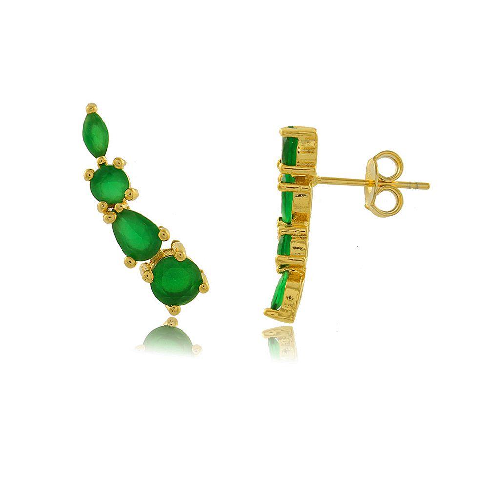 Brinco Ear Cuff com Zircônias Verdes Folheado a Ouro 18K
