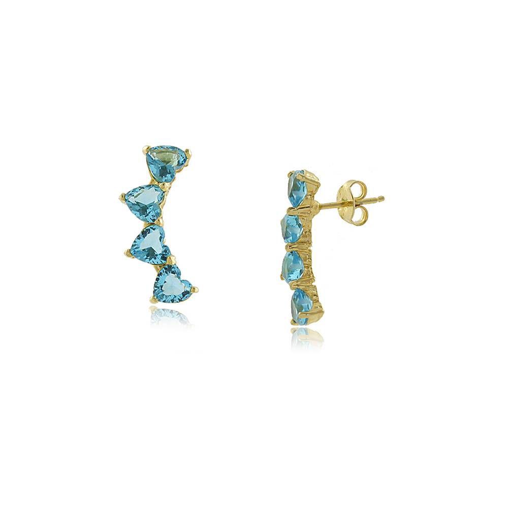 Brinco Ear Cuff Corações em Zircônias Azuis Folheado a Ouro 18K