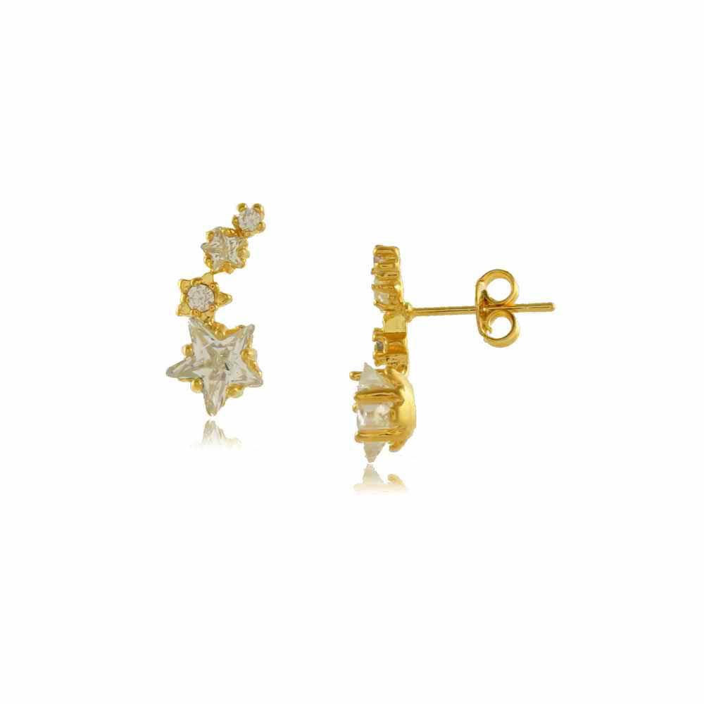 Brinco Ear Cuff Estrelas com Zircônias Folheado a Ouro 18K