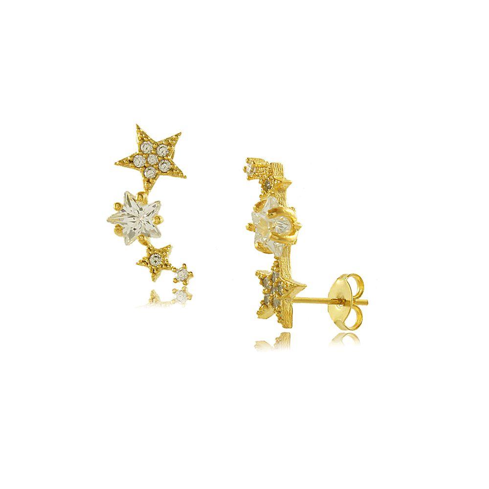 Brinco Ear Cuff Quatro Estrelas com Zircônias Cravejadas Folheado a Ouro 18K