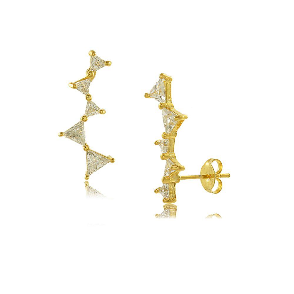 Brinco Ear Cuff Três Laços em Zircônias Folheado a Ouro 18K