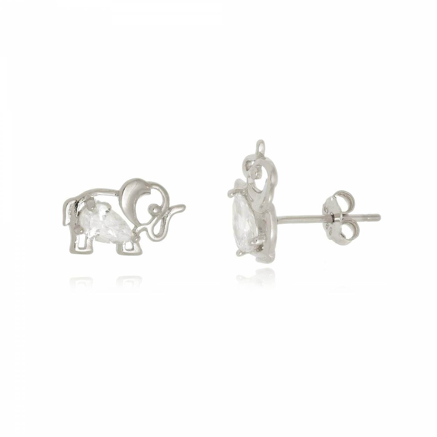 Brinco Elefante Vazado com Zircônia em Prata 925