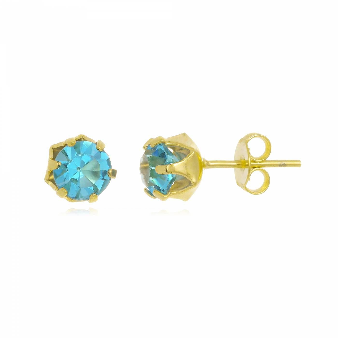 Brinco em Cristal Azul Folheado a Ouro 18K