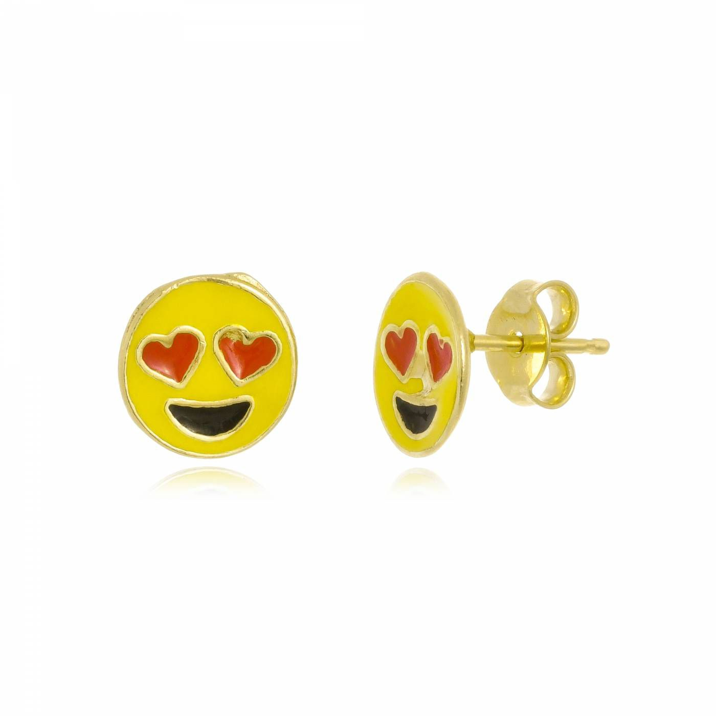 Brinco Emoji Apaixonado Folheado a Ouro 18K