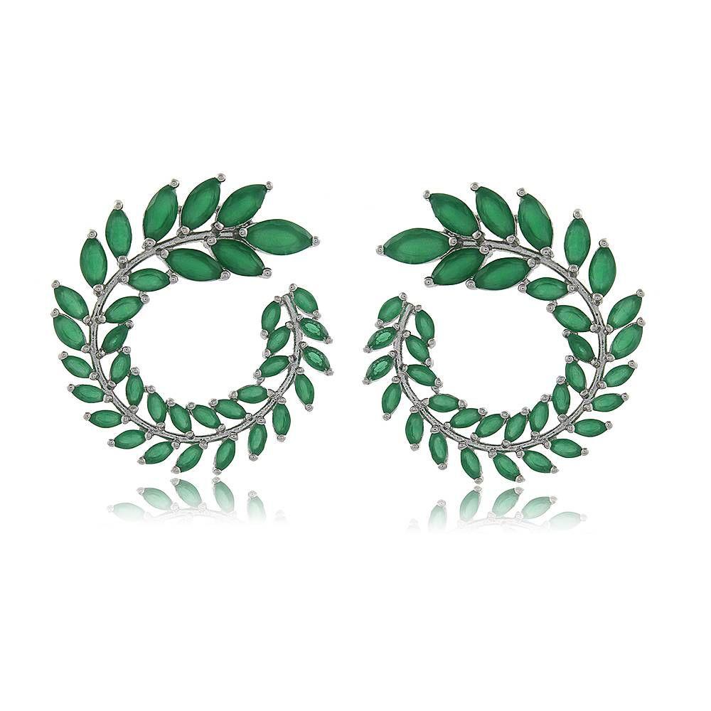 Brinco Espiral Folhas em Zircônias Verdes Folheado em Ródio